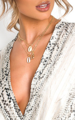View the Hayley Shell Layered Charm Necklace  online at iKrush