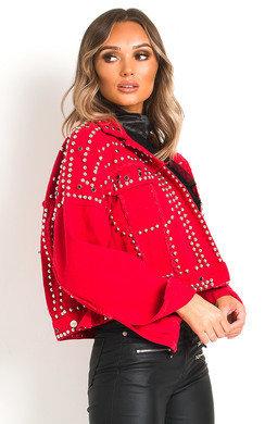View the Henley Studded Embellished Denim Jacket online at iKrush
