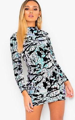 View the Hettie Sequin Embellished Velvet Mini Dress online at iKrush