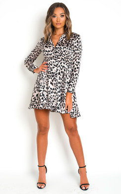 View the Hetty Leopard Print Shirt Dress online at iKrush