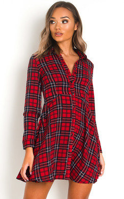 View the Hetty Tartan Shirt Dress online at iKrush
