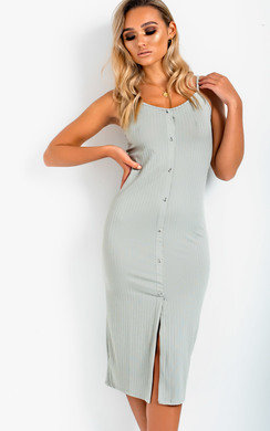 View the Hiliary Ribbed Button Front Midi Dress online at iKrush