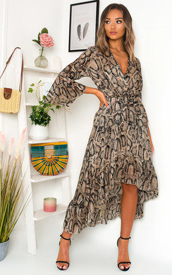 View the Hollie Printed Frill Maxi Dress online at iKrush