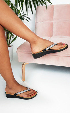 View the Holly Diamante Wedged Flip Flop Sandals online at iKrush