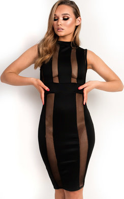 View the Imogen Mesh Stripe Midi Dress online at iKrush