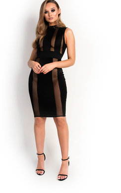 View the Imogen Mesh Stripe Midi Dress online at iKrush