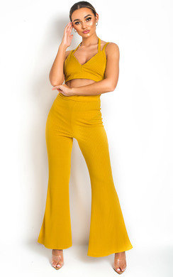 View the India Cropped Ribbed Flared Co-ord online at iKrush