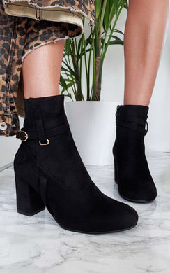 View the Indie Buckle Faux Suede Ankle Boots online at iKrush