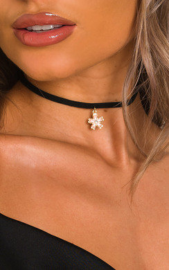 View the Indie Choker Suede Floral Charm Necklace online at iKrush