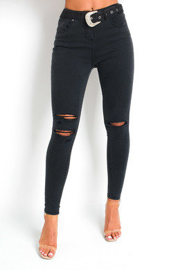 View the Indie Distressed Western Buckle Jeans online at iKrush