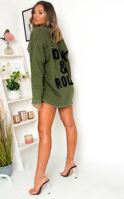 View the Indigo Oversized Slogan Jacket online at iKrush