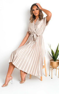 View the Ingrid Satin Pleat Midi Dress online at iKrush