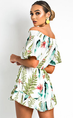 View the Iris Off Shoulder Tropical Playsuit online at iKrush