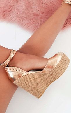 View the Isabella Studded Espadrille Wedged Heels online at iKrush