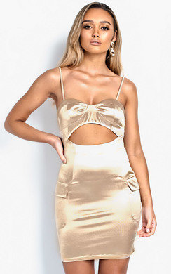 View the Ivanna Cut-Out Satin Mini Dress online at iKrush