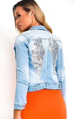 View the Ivy Embellished Distressed Denim Jacket online at iKrush