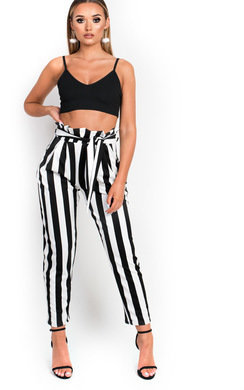 View the Izabelle Paperbag Striped Trousers online at iKrush