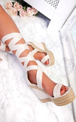 View the Izzie Faux Suede Lace Up Wedges online at iKrush