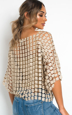 View the Izzie Floral Shimmer Crochet Top online at iKrush