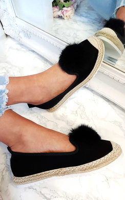 View the Jada Faux Suede PomPom Espadrille Slip Ons online at iKrush