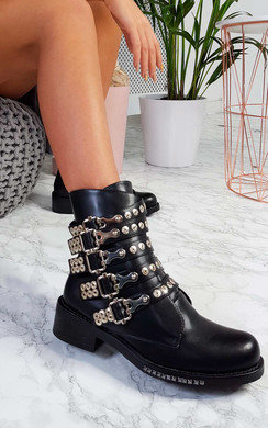 View the Jade Buckle Biker Boots online at iKrush