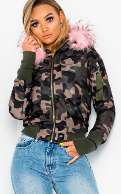 View the Jadyn Fur Hood Bomber Jacket  online at iKrush