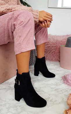 View the Jane Buckle Block Heel Ankle Boots online at iKrush
