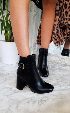 View the Janie Block Heel Buckle Ankle Boots online at iKrush
