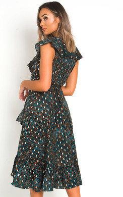 View the Jaq Wrap Front Midi Dress online at iKrush
