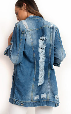 View the Jasmin Distressed Oversized Denim Jacket  online at iKrush