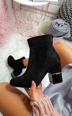 View the Jasmine Faux Suede Heeled Ankle Boots online at iKrush