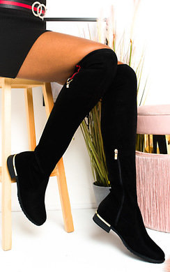 View the Jasmine Faux Suede Knee High Boots online at iKrush