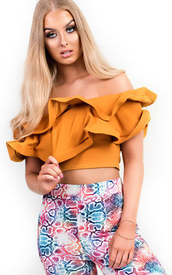 View the Jasmine Frill Bardot Crop Top online at iKrush