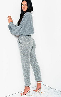 View the Jayla Metallic Knit Joggers online at iKrush