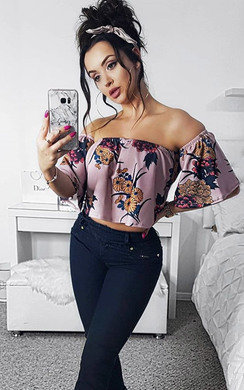 View the Jeni Off Shoulder Floral Frill Crop Top online at iKrush