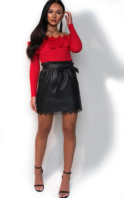 View the Jenna Paperbag Pleather Tie Skirt online at iKrush