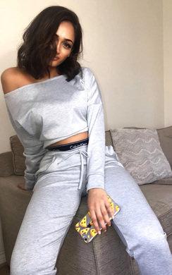 View the Jenner Off Shoulder Crop Lounge Set online at iKrush