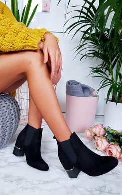 View the Jerri Faux Suede Heeled Ankle Boots online at iKrush