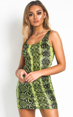 View the Jess Snake Print Mini Dress online at iKrush
