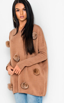 View the Jessie Faux Fur Pom Pom Knitted Jumper online at iKrush