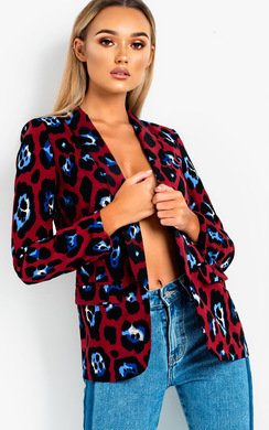 View the Jilly Leopard Long-Lined Blazer Jacket online at iKrush