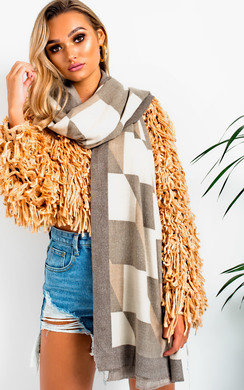 View the Jilly Soft Oversized Geo Metric Scarf online at iKrush
