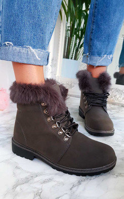 View the Jody Faux Fur Lace Up Boots online at iKrush