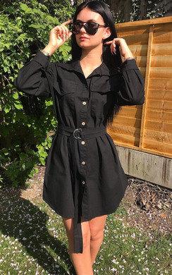 View the Jojo Tie Waist Shirt Dress online at iKrush