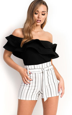 View the Joli Frill Bardot Crop Top online at iKrush