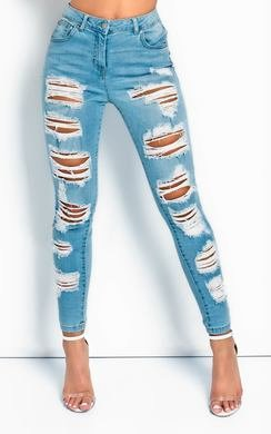 View the Jolie Distressed Frayed Skinny Jeans  online at iKrush