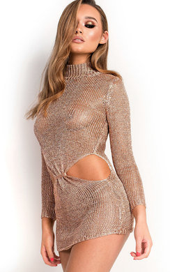 View the Josy Metallic Knot Waist Knit Dress online at iKrush