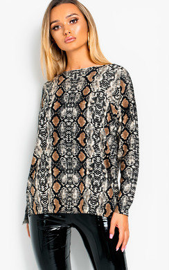 View the Joy Knitted Snake Print Jumper  online at iKrush