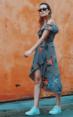 View the Julia Floral Frill Sleeve Wrap Front Midi Dress online at iKrush