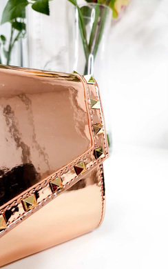 View the Julie Metallic Studded Envelope Clutch Bag online at iKrush
